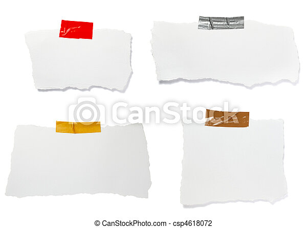 ripped white paper note message background - csp4618072