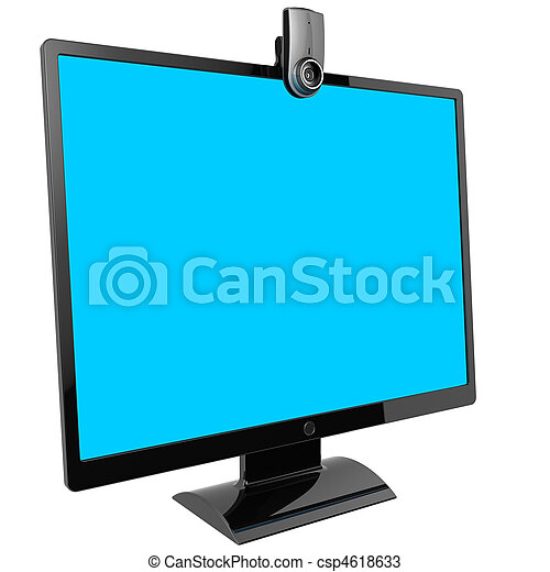 Computer monitor. Video call. - csp4618633