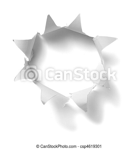 hole in white paper background - csp4619301
