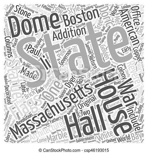 The Massachsetts State House Word Cloud Concept - csp46193015
