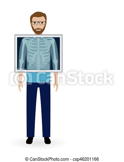 Adult man with x-ray chest vision. Radiography patient banner. Mockup of medical examination. - csp46201166