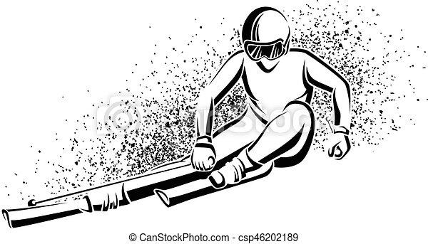 Downhill Woman Skier - csp46202189
