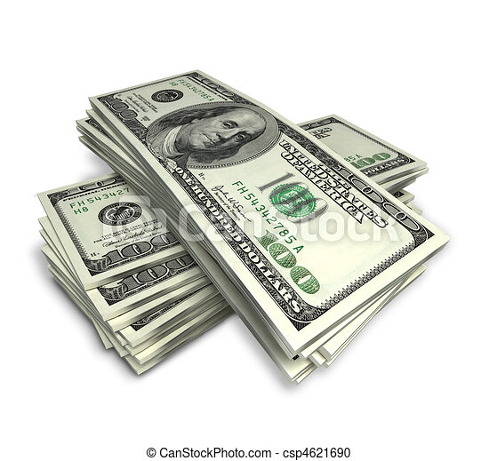 Stock Illustration of money - stack of dollars on white ...