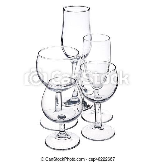 empty glassware on white background - csp46222687