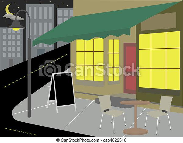 Corner Diner bottom of street night - csp4622516