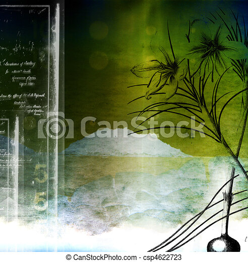 A collage using botanical and architectural elements to construct a balanced composition. - csp4622723