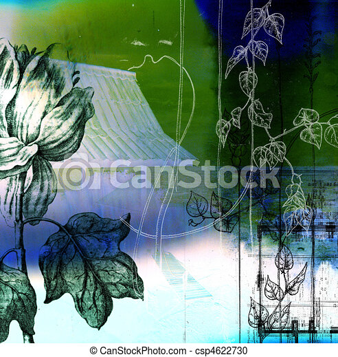 A collage using botanical and architectural elements to construct a balanced composition. - csp4622730