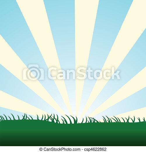 blue sky burst with grass - csp4622862
