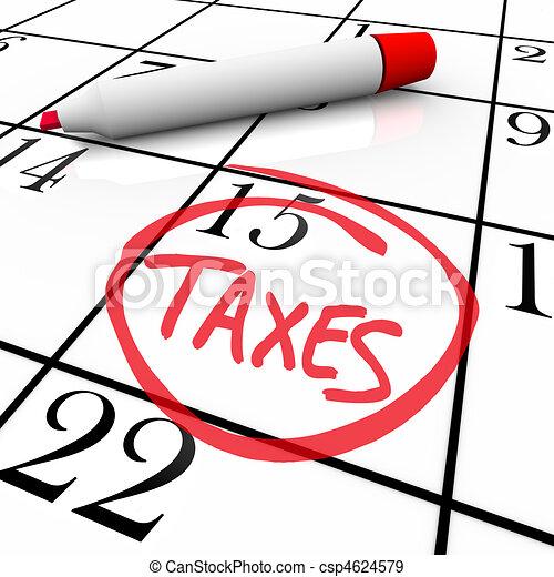 Calendar - Tax Day Circled - csp4624579