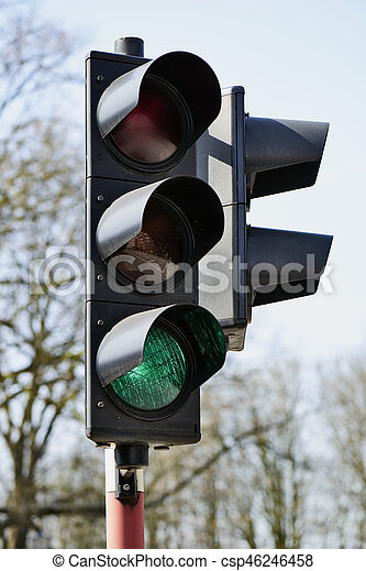 Green traffic light in the city of brussels, Europe