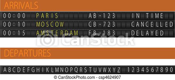Airport mechanical schedule desk. - csp4624907