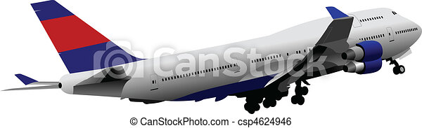 Passenger Airplane. Colored Vector - csp4624946