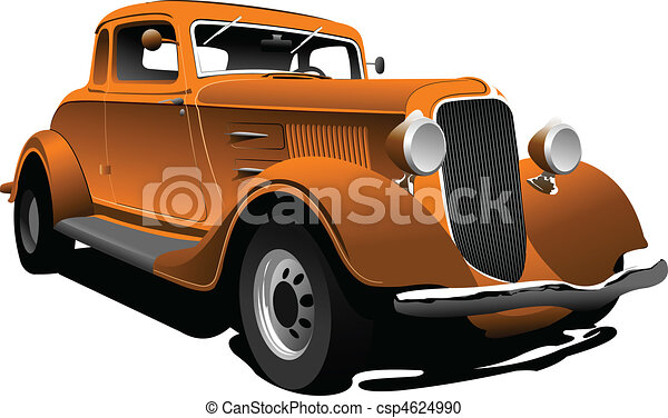 Old  orange car. Sedan. Vector ill - csp4624990