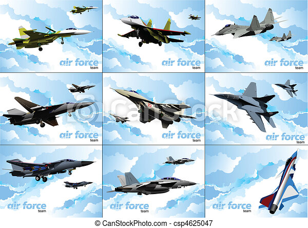 Nine posters of Air force team. Ve - csp4625047