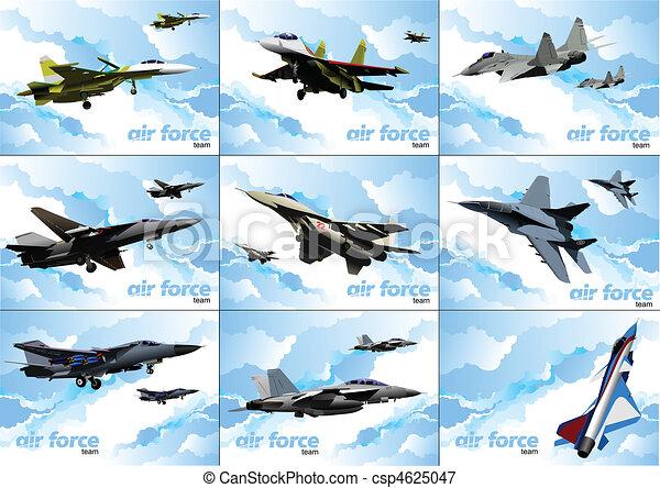 Nine posters of Air force team. Ve - csp4625047