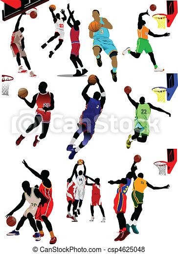 Basketball players. Colored Vector  - csp4625048