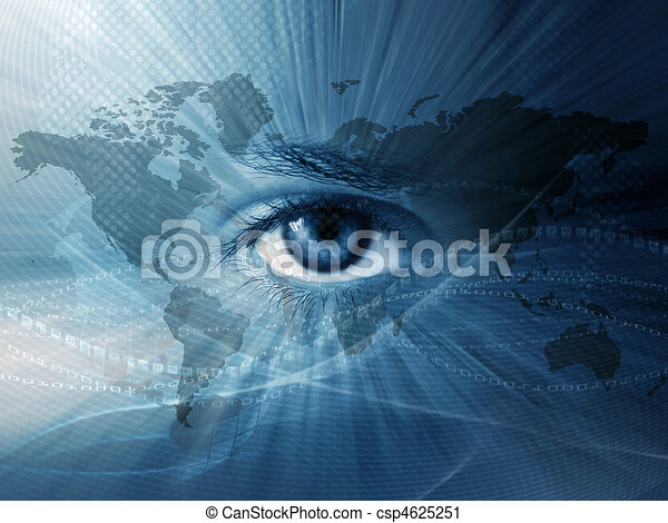 World map and blue eye - csp4625251