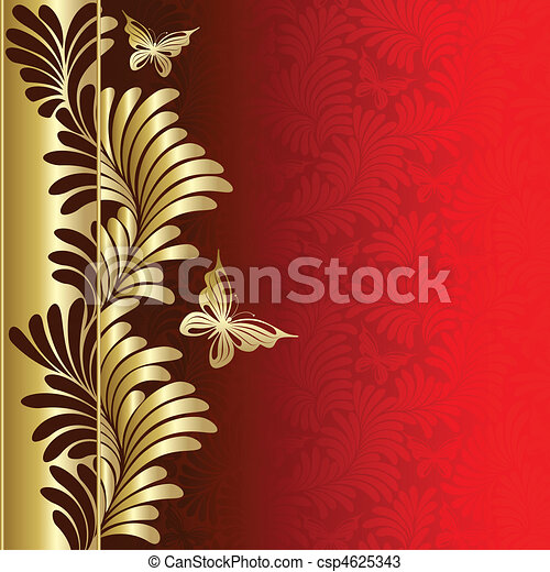 Background  with  plants  and butterflies - csp4625343