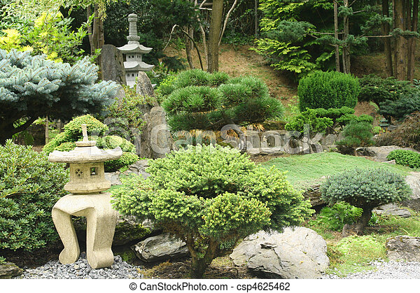 Park in oriental style - Japanese garden with bonsai trees