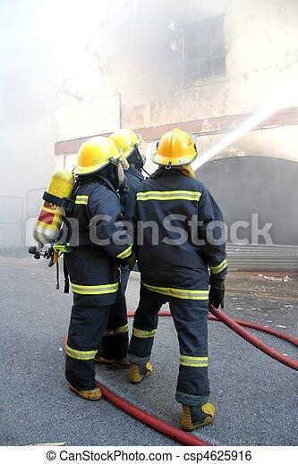 Firemen Fighting Fire - csp4625916