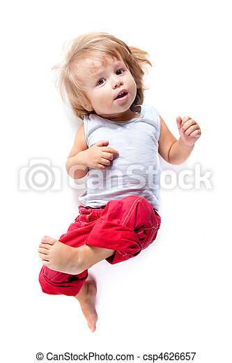 Funny boy in red pants, high angle view  - csp4626657