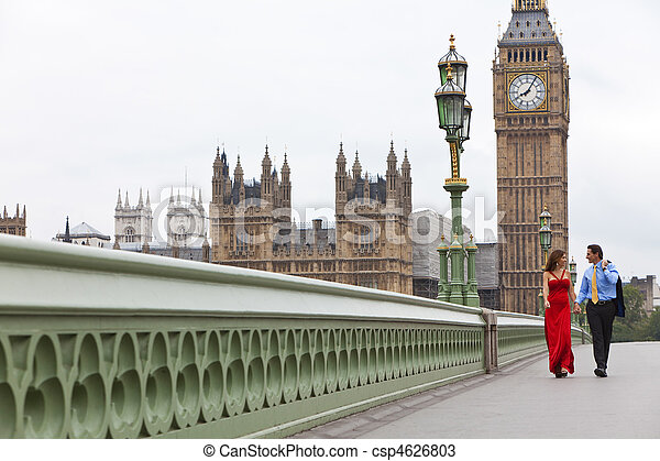 Romantic man and woman couple on Westminster Bridge with Big Ben in the background, London, England, Great Britain - csp4626803