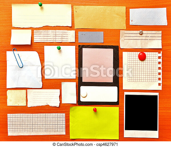 Stock Photography of bulletin board with paper notes and old blank ...