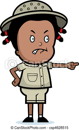 Clipart Vector of Angry Explorer - A cartoon child explorer angry ...