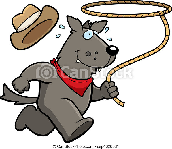 Vector Clip Art of Wolf Rodeo - A happy cartoon rodeo wolf running ...