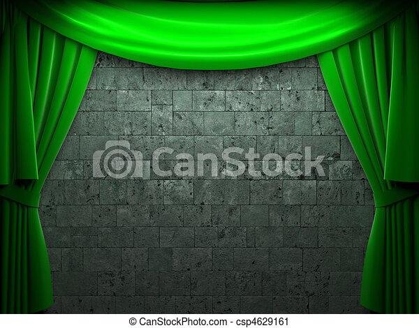 green velvet curtain opening scene  - csp4629161