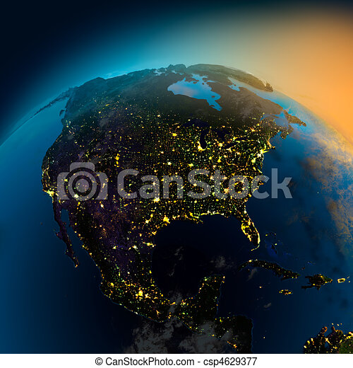 Night view of North America from the satellite - csp4629377