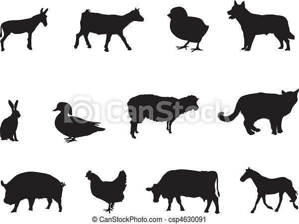 Barn Silhouette Drawing Farm Animal Clipart