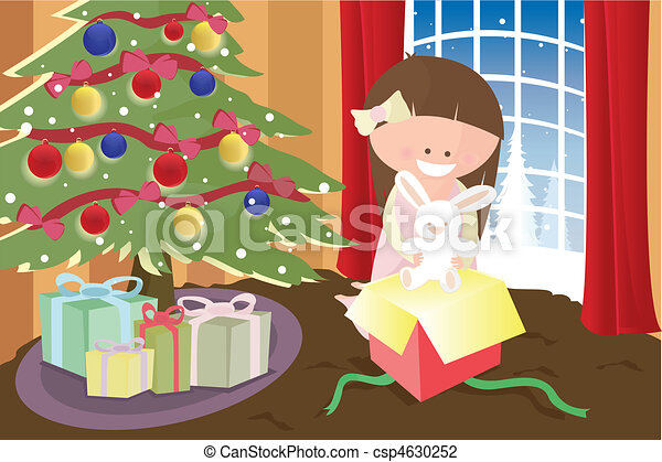 Girl opening Christmas present - csp4630252