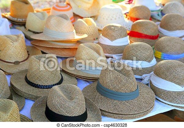 Hats arrangement on market hand craft shop - csp4630328