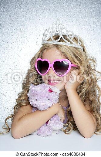 fashion little princess girl pink teddy bear - csp4630404
