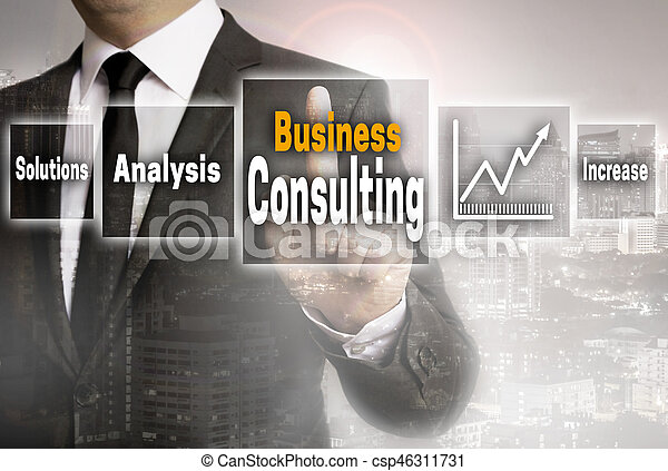Business consulting businessman with city background concept.