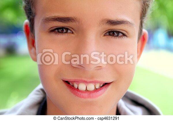 boy teenager closeup face macro happy smiling - csp4631291