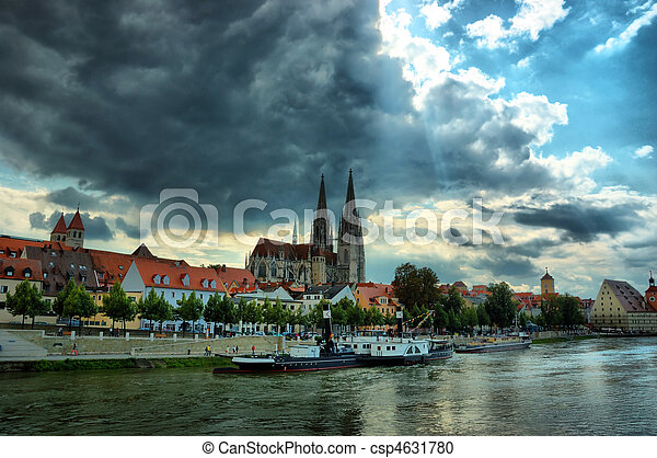 Cityscape of old Regensburg , Bavaria, Germany, Unesco heritage, Hdr - csp4631780