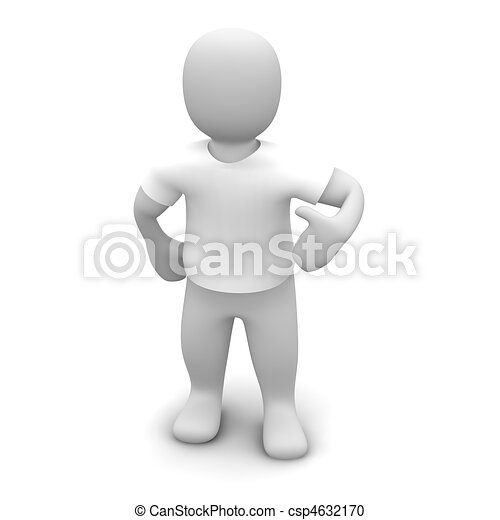 Man wearing white t-shirt. 3d rendered illustration. - csp4632170