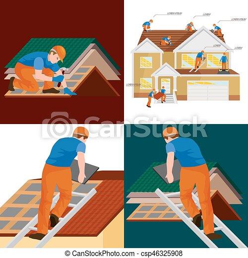 Dachdecker bilder clipart  Vektor Clipart von reparatur, haus, ausrüstung, draußen, werkzeuge ...