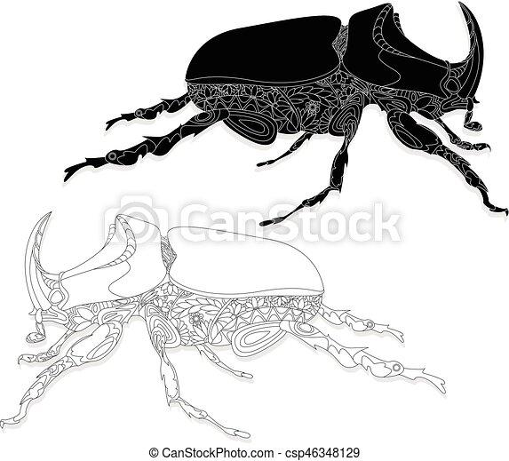 Beetle. Hand drawn sketch. - csp46348129