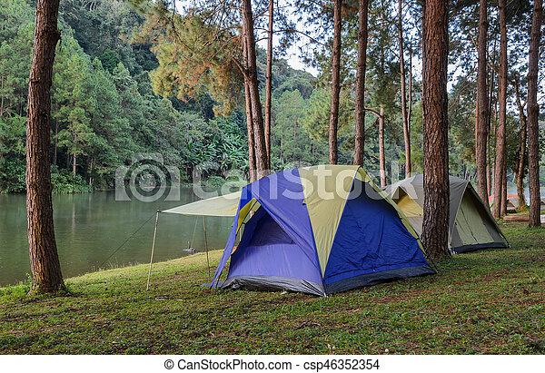 Camping Tents Near Lake At Pang Oung In Mae Hong Son Thailand Stock Images Page Everypixel