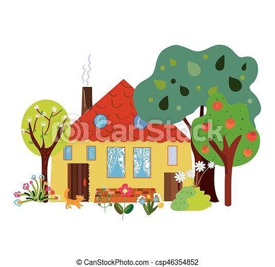 Vecteur clipart de maison ferme campagne dessin anim - Maison de campagne dessin ...