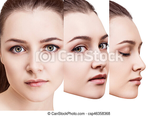 Woman\'s beauty faces with perfect bright makeup. Healthy skin concept