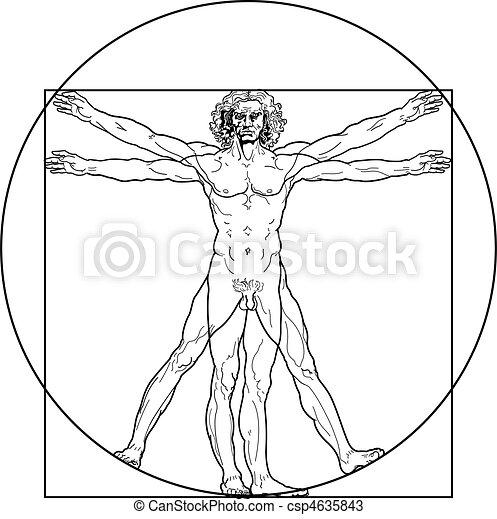 The Vitruvian man (Outline version) - csp4635843