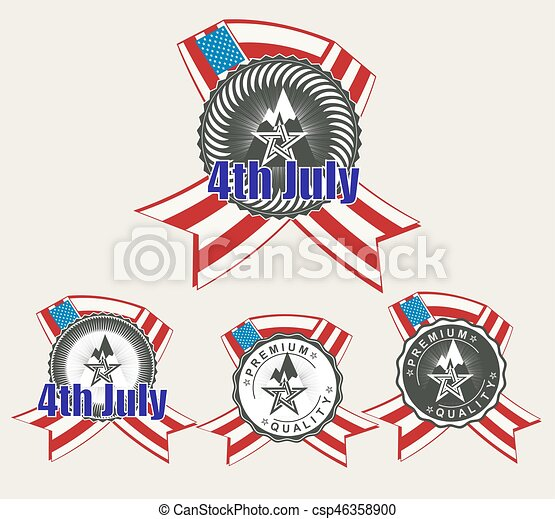 sign with a silhouette of the American flag, set - csp46358900