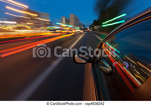 Car driving fast in the night city - csp4636242
