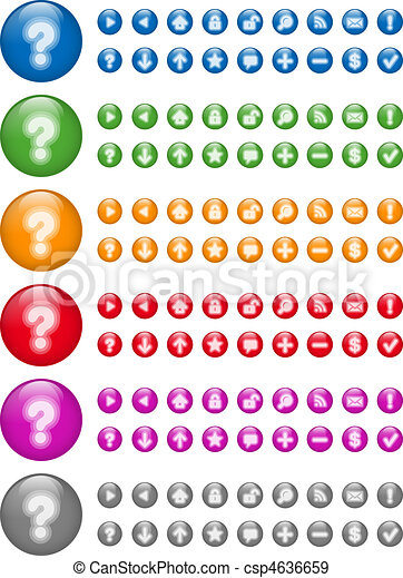 Glossy Web Icon Buttons, 6 colors - csp4636659
