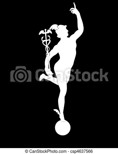 Clip Art Vector of white silhouette of god of Mercury on a ...