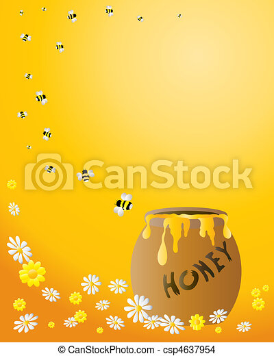 honey jar with bees - csp4637954